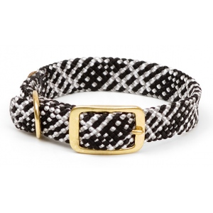 "Mendota Pet Double Braid Collar: Salt & Pepper, 1""W Up to 18"""