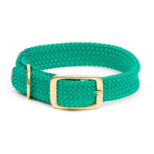 "Mendota Double Braid Collar: Kelly Green, 1""W Up to 18"""