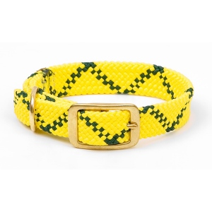 "Mendota Double Braid Collar: Hi Viz Yellow, 1""W Up to 18"""