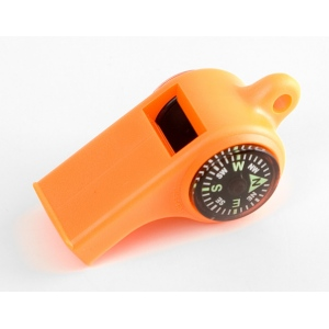 Mendota Pet Sportsman's Whistle with Compass and Temperature Gauge: Orange