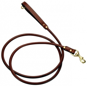 "Mendota Rolled Snap Leash: Chestnut, 3/4"" x 4'"
