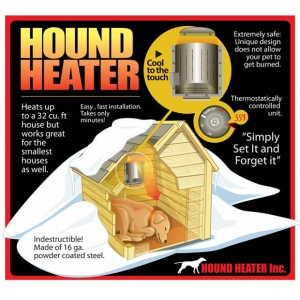 "AKOMA Dog Products Hound Heater Dog House Furnace Deluxe with Cord Protector  Black 10"" x 10"" x 4.5"""
