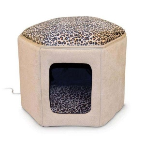 "K&H Pet Products Thermo-Kitty Sleephouse Tan / Leopard 17"" x 16"" x 13"""