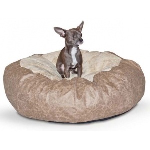 "K&H Pet Products Self Warming Cuddle Ball: Tan Distress, Medium, 38"" x 38"" x 12"""