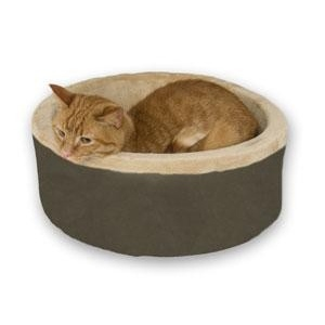 "K&H Pet Products Thermo-Kitty Bed Small Mocha 16"" x 16"" x 6"""