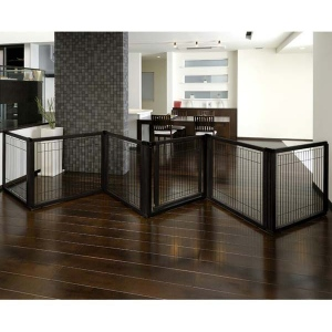 "Richell Convertible Elite Pet Gate 6 Panel Black 130"" - 134"" x 31.7"" - 33.7"" x 31.5"""