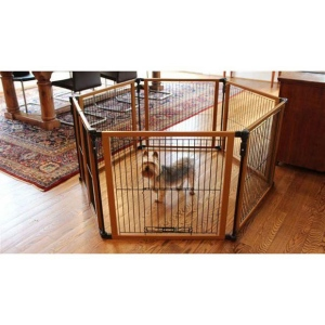 "Cardinal Gates Perfect Fit Free Standing Pet Gate Brown 6 panels 26.25"" x 1"" x 26"""