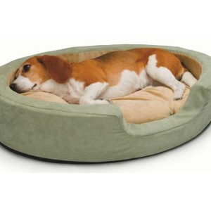 "K&H Pet Products Thermo Snuggly Sleeper Oval Pet Bed Medium Sage 26"" x 20"" x 5"""