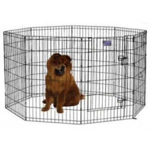"Midwest Homes for Pets Black E-Coat Pet Exercise Pen with Walk-Thru Door: 30"" x 24"""