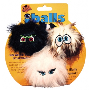 Silly Squeakers IBalls: Black-Brown-Pink, Small