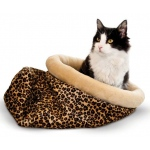 "K&H Pet Products Self Warming Kitty Sack Leopard 17"" x 17.5"" x 4.5"""