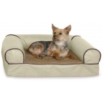 "K&H Pet Products Memory Foam Cozy Sofa Pet Bed Medium White Chocolate 33"" x 24"" x 9"""