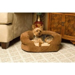 "K&H Pet Products Ortho Bolster Sleeper Pet Bed Medium Brown Velvet 30"" x 25"" x 9"""