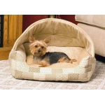 "K&H Pet Products Lounge Sleeper Hooded Pet Bed Tan 20"" x 25"" x 13"""