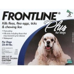 Frontline Flea Control Plus for Dogs and Puppies: 23-44 lbs, Pack of 3