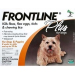 Frontline Flea Control Plus for Dogs and Puppies: 11-22 lbs, Pack of 3