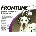 Frontline Flea Control Plus for Dogs and Puppies: 45-88 lbs, Pack of 3