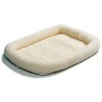 "Midwest Quiet Time Fleece Dog Crate Bed White 18"" x 12"""