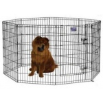 "Midwest Black E-Coat Pet Exercise Pen with Walk-Thru Door 8 Panels Black 24"" x 42"""