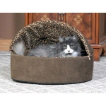 "K&H Pet Products Thermo-Kitty Bed Deluxe Hooded Large Tan 20"" x 20"" x 14"""