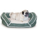 "K&H Pet Products Deluxe Bolster Couch: Green Paw, Small, 21"" x 30"" x 7"""