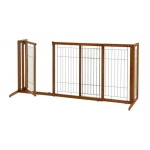 "Richell Deluxe Freestanding Pet Gate with Door: Brown, Large, 61.8"", 90.2"" x 27"" x 36.2"""