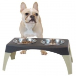 "Bergan Pet Elevated Feeder Medium Black / Gray 9.66"" x 18.18"" x 8.05"""