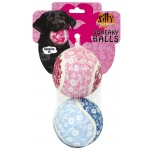 Silly Squeakers Tennis Ball: Flower, Large, Pack of 2