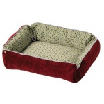 "Midwest Quiet Time Boutique Reversible Snap-Bolster Dog Bed  Burgundy / Wine 21"" x 17"" x 5"""