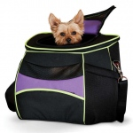 "K&H Pet Products Comfy Go Back Pack Pet Carrier Purple/Black/Lime Green 15.35"" x 11.42"" x 13.98"""