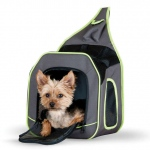 "K&H Pet Products Classy Go Pet Sling Carrier Brown/Lime Green 11.81"" x 10.24"" x 12.99"""
