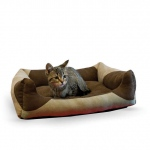 "K&H Pet Products Classy Lounger Pet Bed Medium Tan / Chocolate 20"" x 25"""
