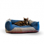 "K&H Pet Products Classy Lounger Pet Bed Large Gray / Blue 28"" x 32"""