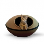 "K&H Pet Products Mod Dream Pods Cat Bed Tan / Black 22"" x 22"" x 11.5"