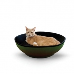"K&H Pet Products Mod Half-Pod Cat Bed Green / Black 22"" x 22"" x 6.25"""