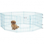 "Midwest Life Stages Pet Exercise Pen with Full MAX Lock Door 8 Panels Blue 24"" x 24"""