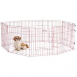 "Midwest Life Stages Pet Exercise Pen with Full MAX Lock Door 8 Panels Pink 24"" x 24"""