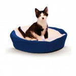 "K&H Pet Products Ultra Memory Round Pet Cuddle Nest Blue 19"" x 19"" x 3"""