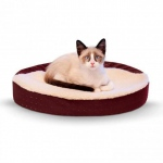 "K&H Pet Products Ultra Memory Foam Oval Pet Cuddle Nest Red 13"" x 19"" x 4"""