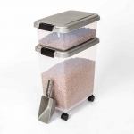 "BioBubble Pet Food Bins and Scoop Silver 16.5"" x 10.8"" x 25.1"""