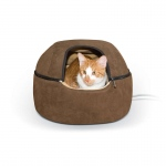 "K&H Pet Products Kitty Dome Bed Heated Small Chocolate 16"" x 16"" x 12"""