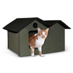 "K&H Pet Products Heated Outdoor Kitty House Extra Wide Olive / Black 21.5"" x 26.5"" x 15.5"""