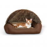 "K&H Pet Products Thermo-Hooded Pet Lounger Bed Chocolate/Leopard 20"" x 25"" x 13"""