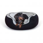 "K&H Pet Products Round n' Plush Bolster Dog Bed Small Black/Gray 20"" x 25"" x 8"""