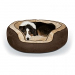 "K&H Pet Products Round n' Plush Bolster Dog Bed Large Chocolate/Tan 29"" x 35"" x 12"""