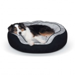"K&H Pet Products Round n' Plush Bolster Dog Bed Large Black/Gray 29"" x 35"" x 12"""