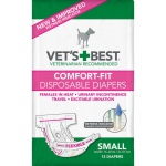 "Vet's Best Comfort-Fit Disposable Female Dog Diaper 12 pack Small White 7.5"" x 4.25"" x 4.5"""