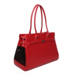 Bark N Bag Pebble Grain Tote: Red