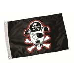 Paws Aboard Pirate Dog Flag: Black