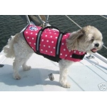 Paws Aboard Designer Dog Life Jacket: Pink, Polka Dot, Large